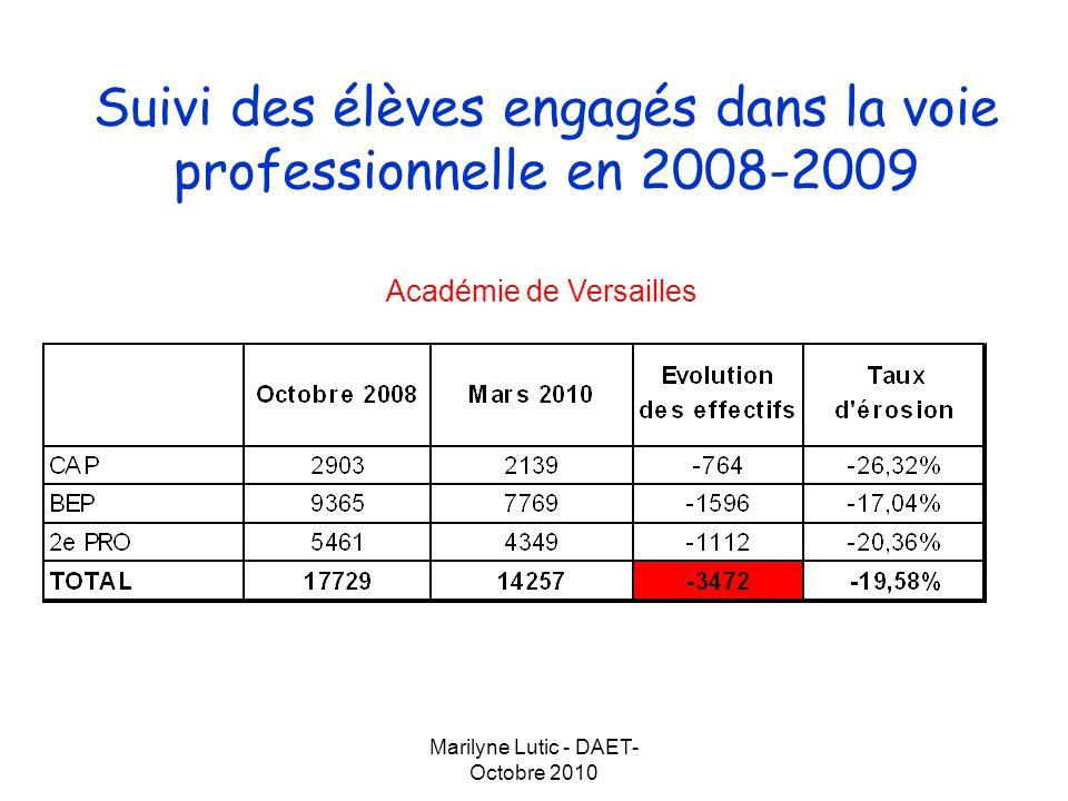 Suivi des élèves engagés dans la voie professionnelle en 2008-2009