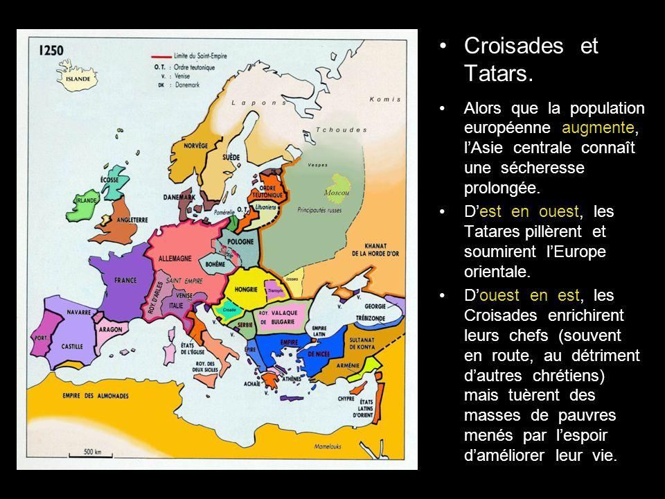 Croisades et Tatars. Alors que la population européenne augmente, l'Asie centrale connaît une sécheresse prolongée.