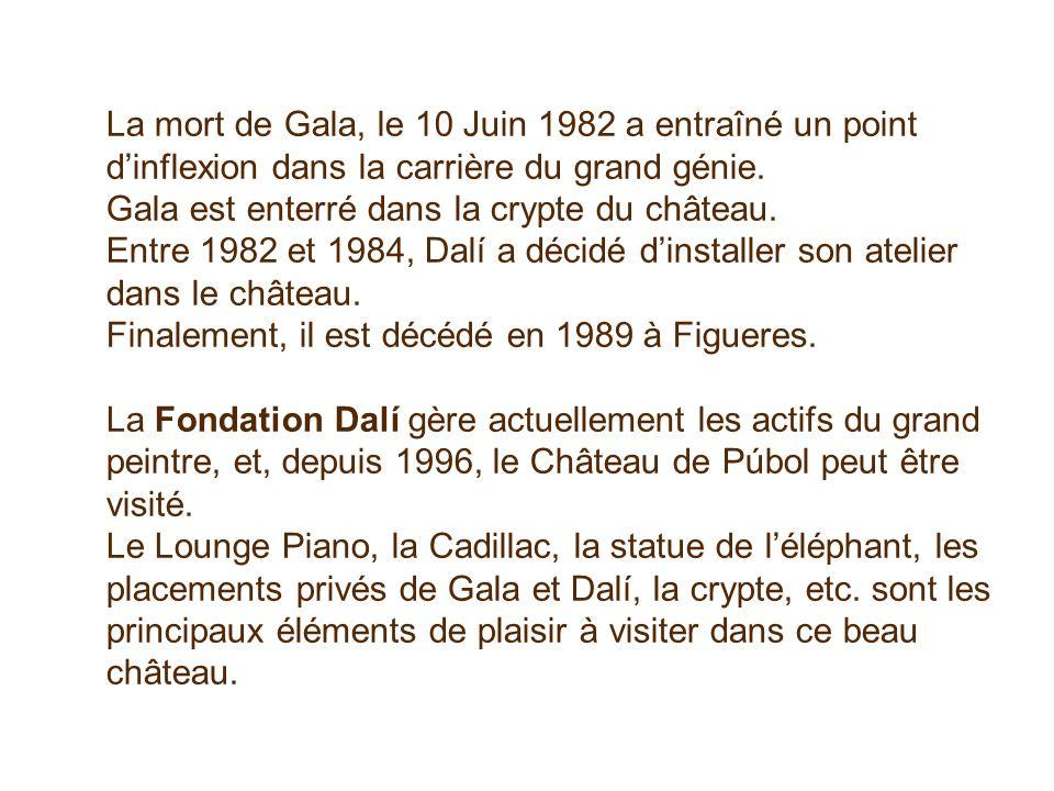 La mort de Gala, le 10 Juin 1982 a entraîné un point d'inflexion dans la carrière du grand génie.