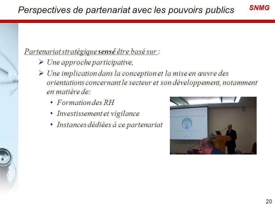 Perspectives de partenariat avec les pouvoirs publics