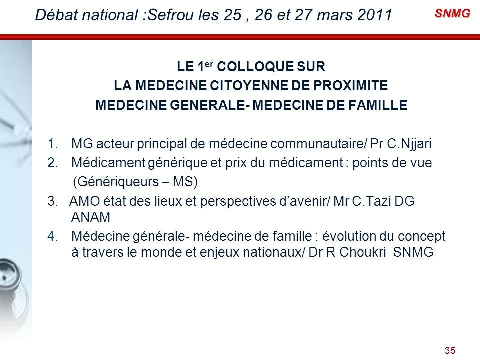 Débat national :Sefrou les 25 , 26 et 27 mars 2011