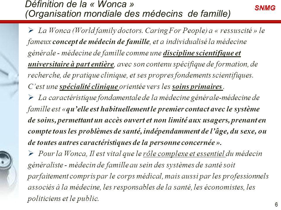 Définition de la « Wonca » (Organisation mondiale des médecins de famille)