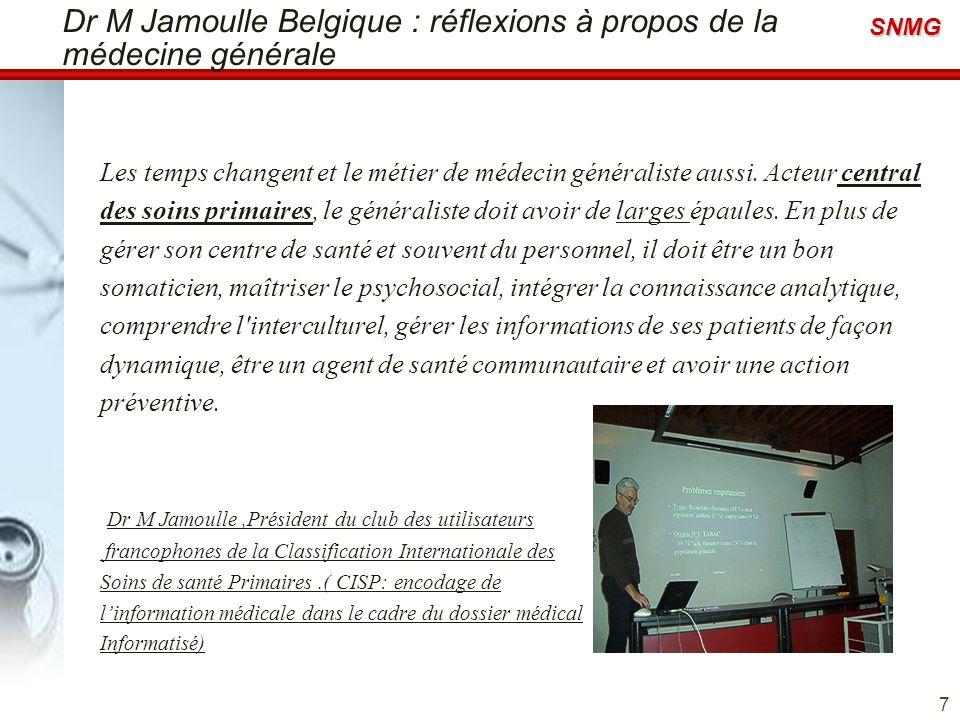 Dr M Jamoulle Belgique : réflexions à propos de la médecine générale