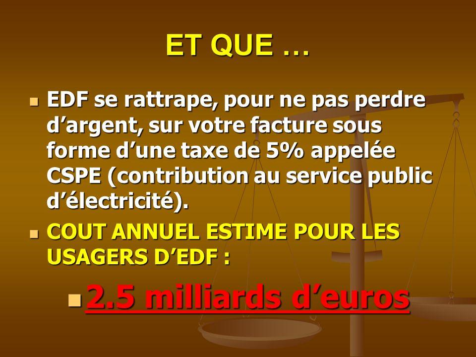 2.5 milliards d'euros ET QUE …