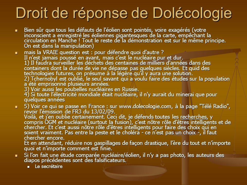 Droit de réponse de Dolécologie