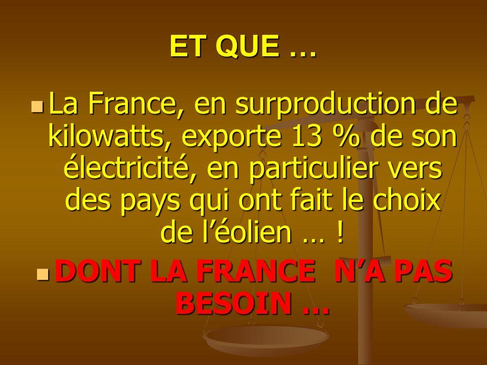 DONT LA FRANCE N'A PAS BESOIN …