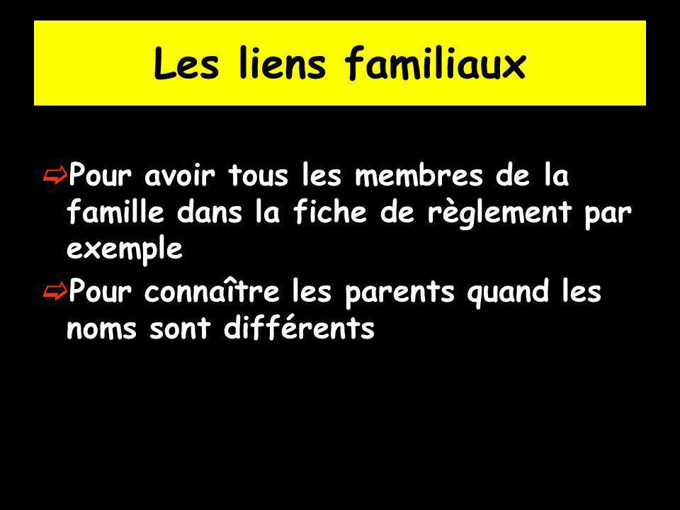 Les liens familiaux Pour avoir tous les membres de la famille dans la fiche de règlement par exemple.