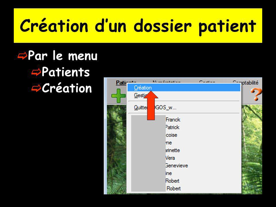 Création d'un dossier patient