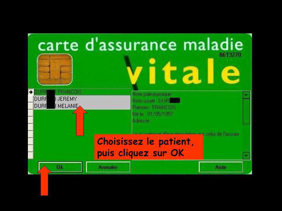 Choisissez le patient, puis cliquez sur OK