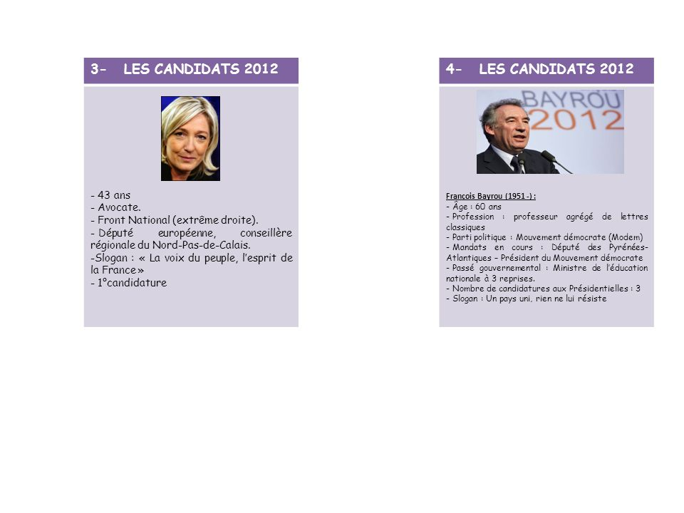 3- LES CANDIDATS 2012 4- LES CANDIDATS 2012 43 ans Avocate.