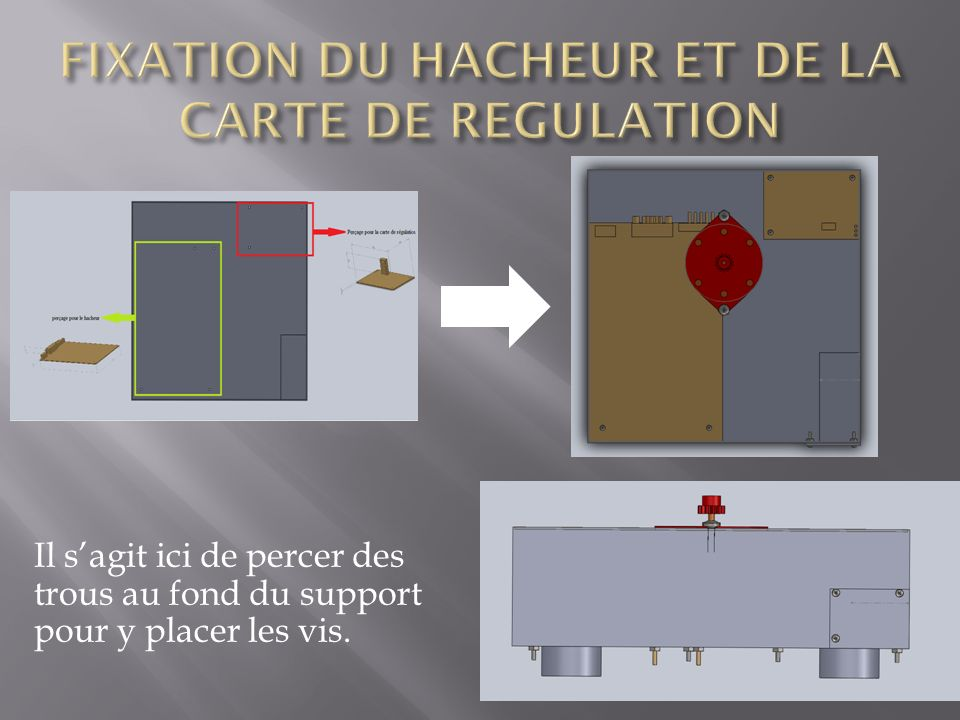 FIXATION DU HACHEUR ET DE LA CARTE DE REGULATION