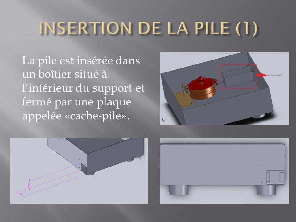 INSERTION DE LA PILE (1) La pile est insérée dans un boîtier situé à l'intérieur du support et fermé par une plaque appelée «cache-pile».