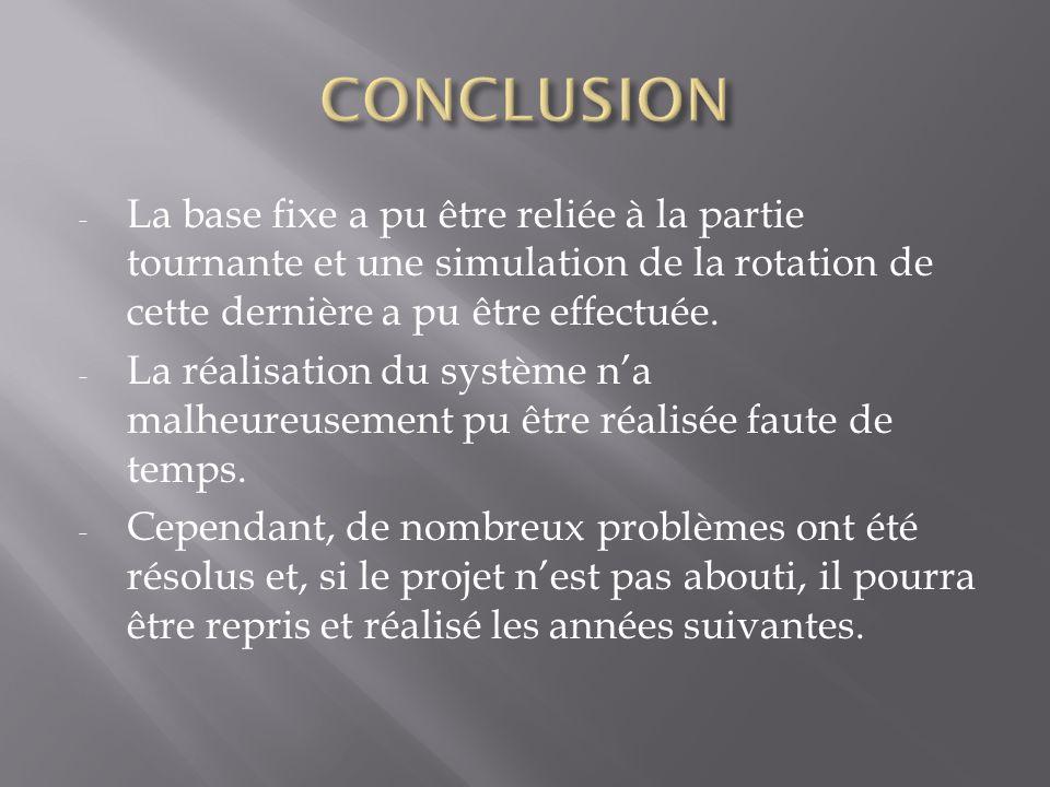 CONCLUSION La base fixe a pu être reliée à la partie tournante et une simulation de la rotation de cette dernière a pu être effectuée.