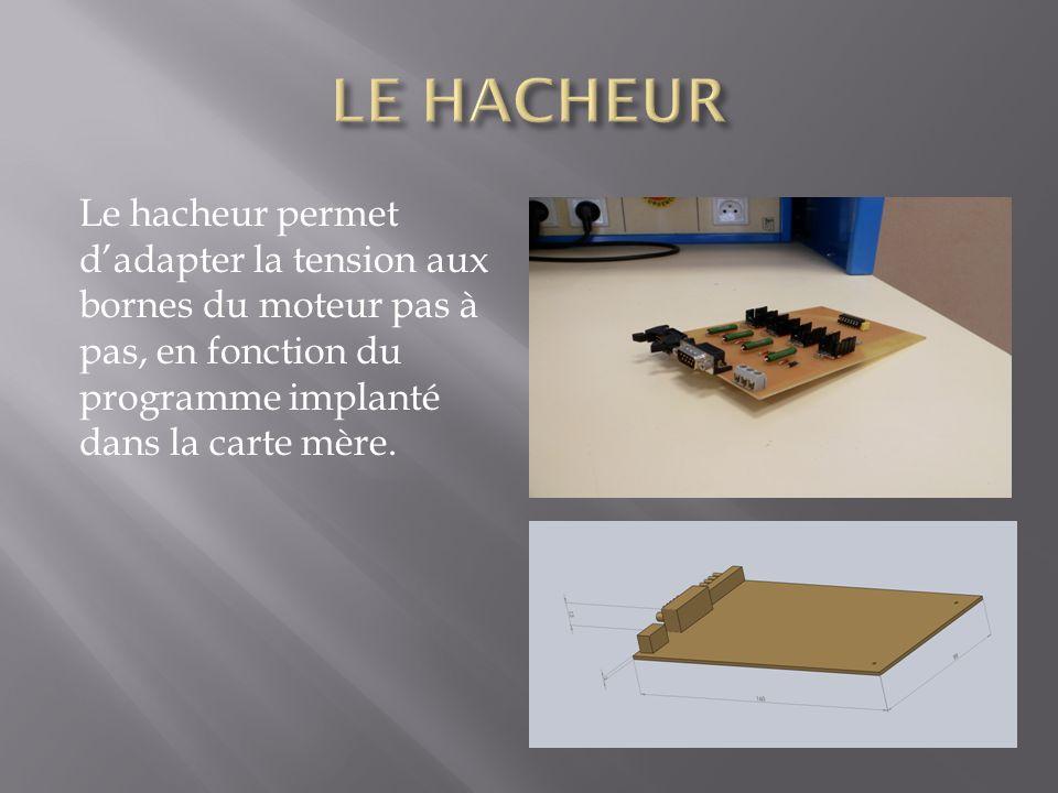 LE HACHEUR Le hacheur permet d'adapter la tension aux bornes du moteur pas à pas, en fonction du programme implanté dans la carte mère.