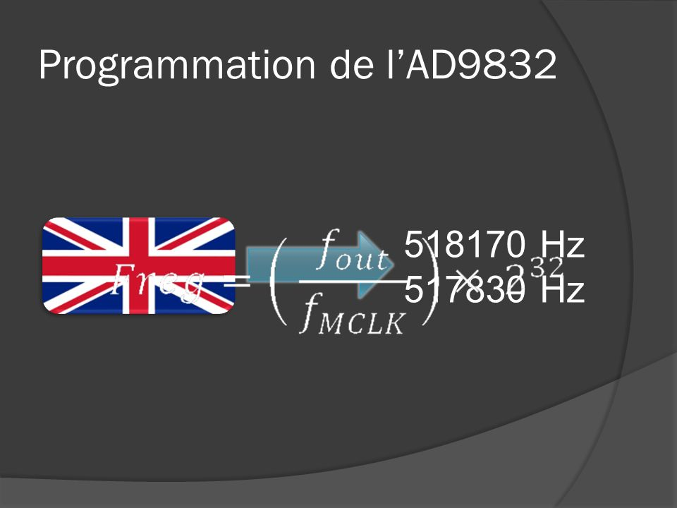 Programmation de l'AD9832 518170 Hz 517830 Hz