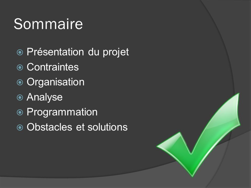 Sommaire Présentation du projet Contraintes Organisation Analyse