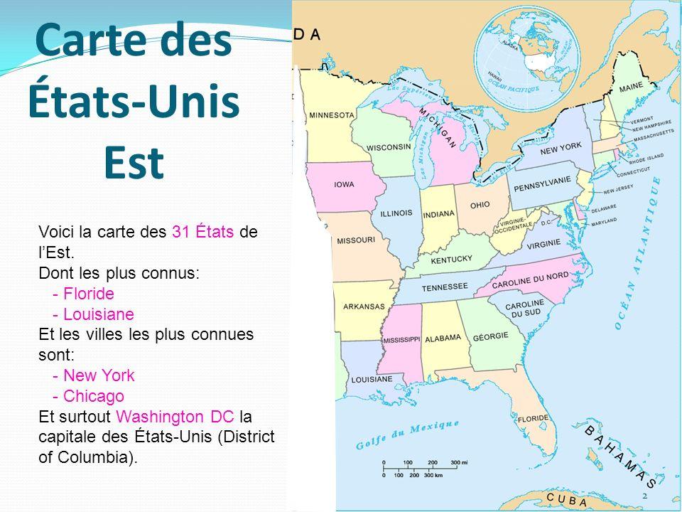 Carte des États-Unis Est