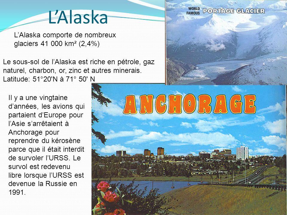 L'Alaska L'Alaska comporte de nombreux glaciers 41 000 km² (2,4%)