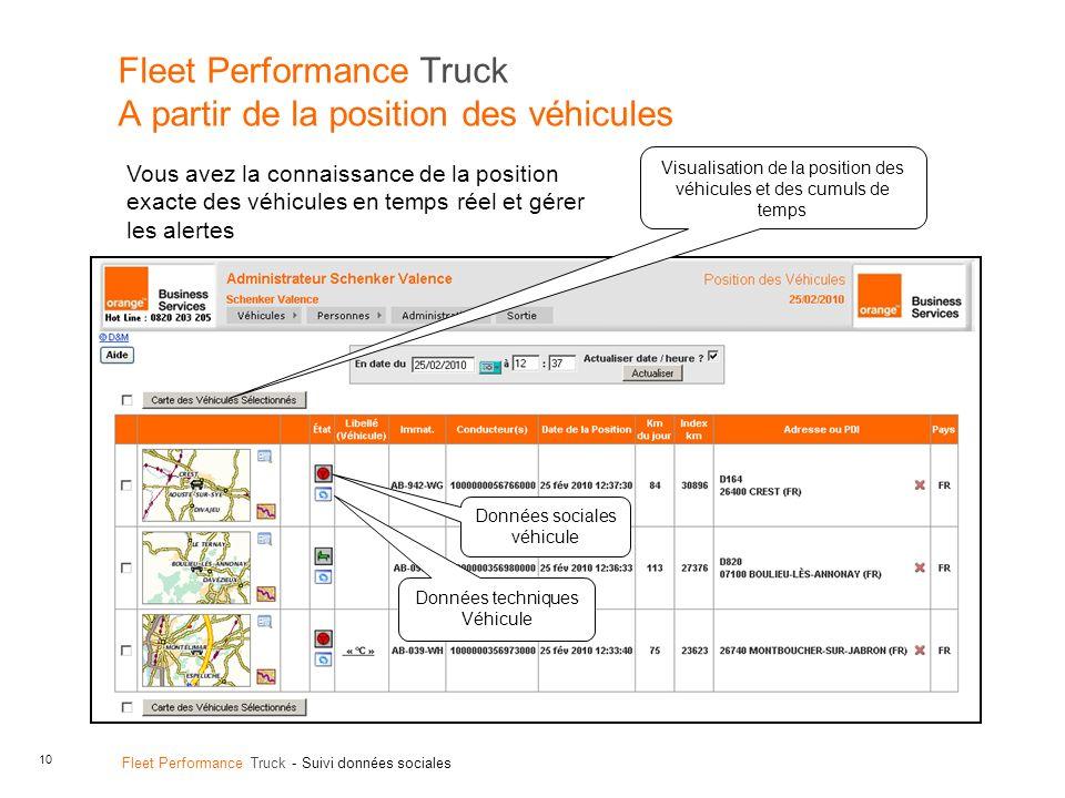 Fleet Performance Truck A partir de la position des véhicules