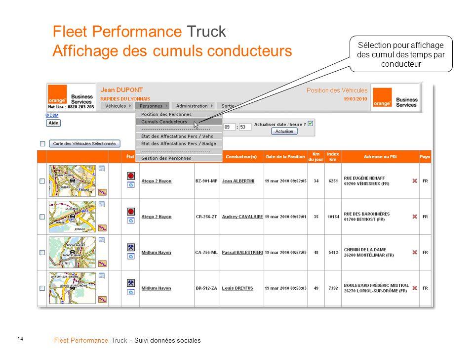 Fleet Performance Truck Affichage des cumuls conducteurs