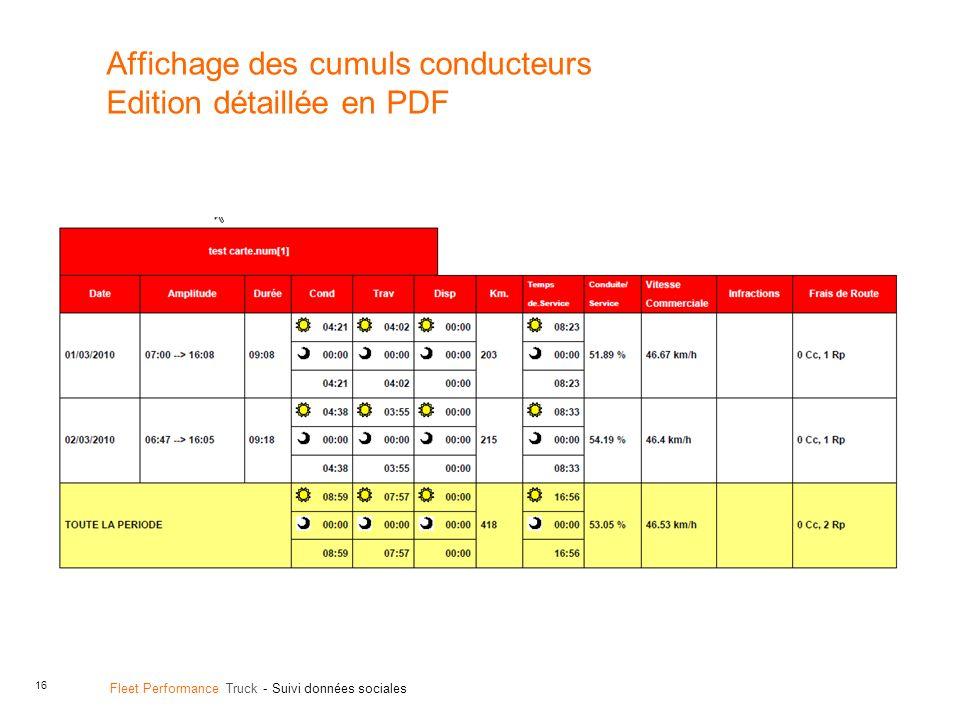 Affichage des cumuls conducteurs Edition détaillée en PDF