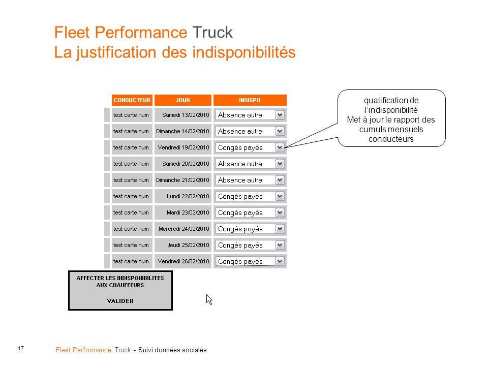 Fleet Performance Truck La justification des indisponibilités