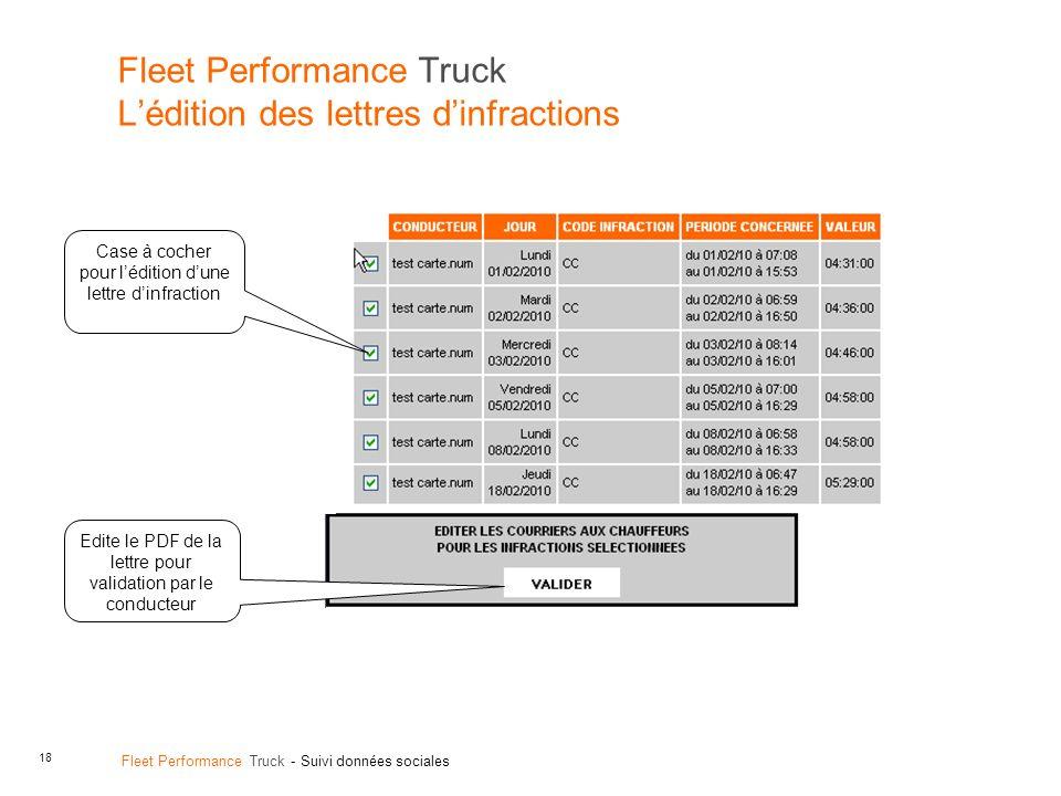 Fleet Performance Truck L'édition des lettres d'infractions