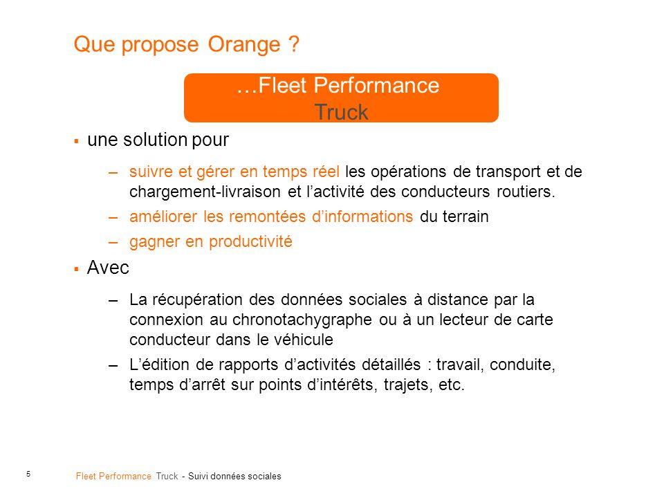 Que propose Orange …Fleet Performance Truck une solution pour Avec