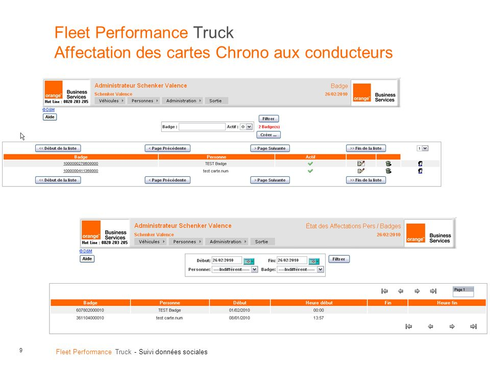 Fleet Performance Truck Affectation des cartes Chrono aux conducteurs