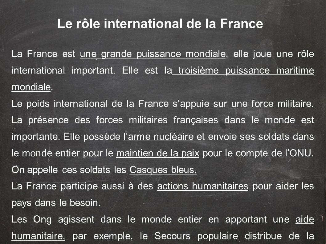 Le rôle international de la France