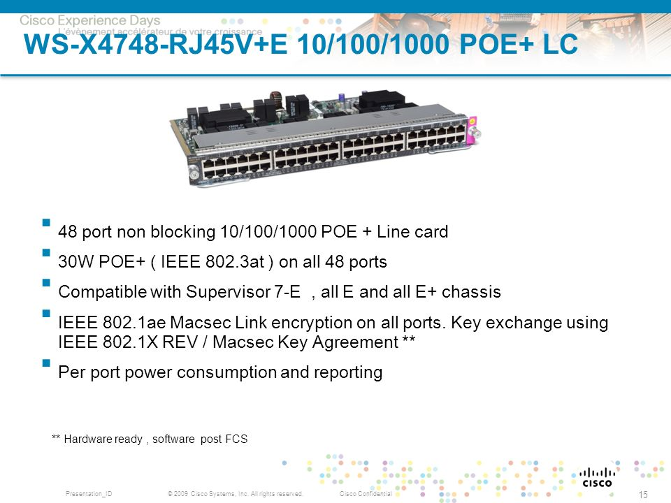WS-X4748-RJ45V+E 10/100/1000 POE+ LC 48 port non blocking 10/100/1000 POE + Line card. 30W POE+ ( IEEE 802.3at ) on all 48 ports.