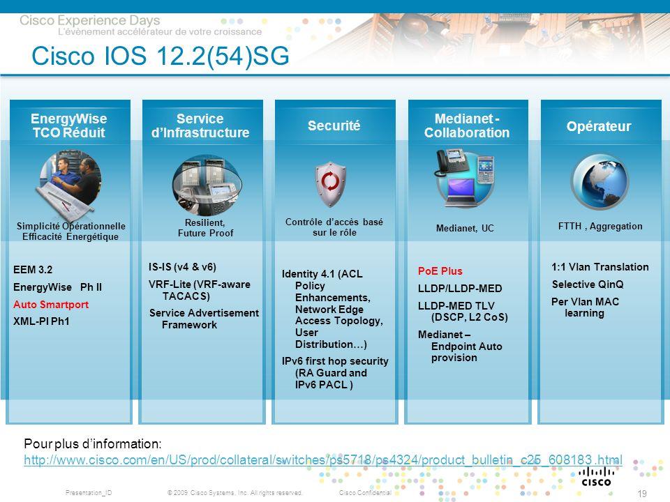Cisco IOS 12.2(54)SG EnergyWise TCO Réduit Service d'Infrastructure