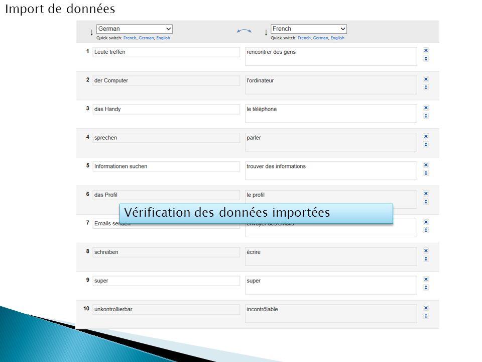 Import de données Vérification des données importées