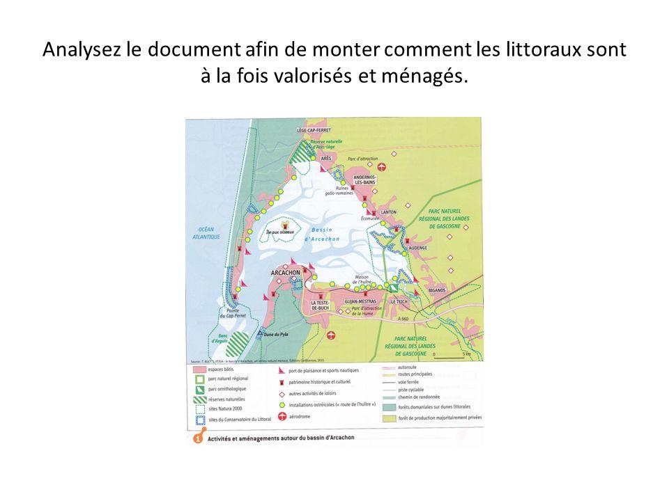 Analysez le document afin de monter comment les littoraux sont à la fois valorisés et ménagés.