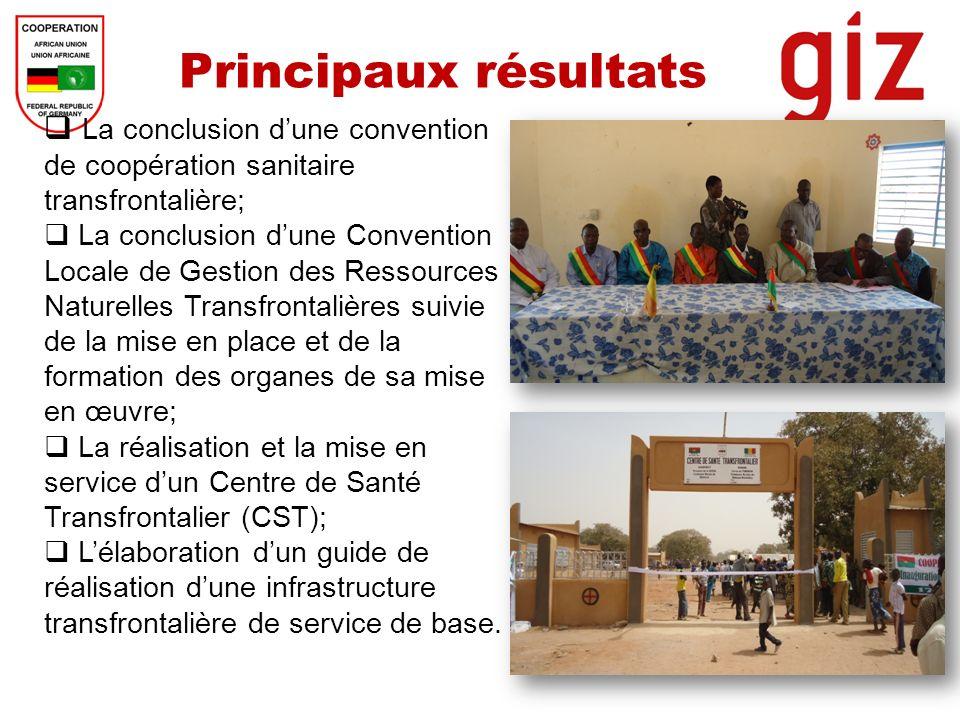 Principaux résultats La conclusion d'une convention de coopération sanitaire transfrontalière;