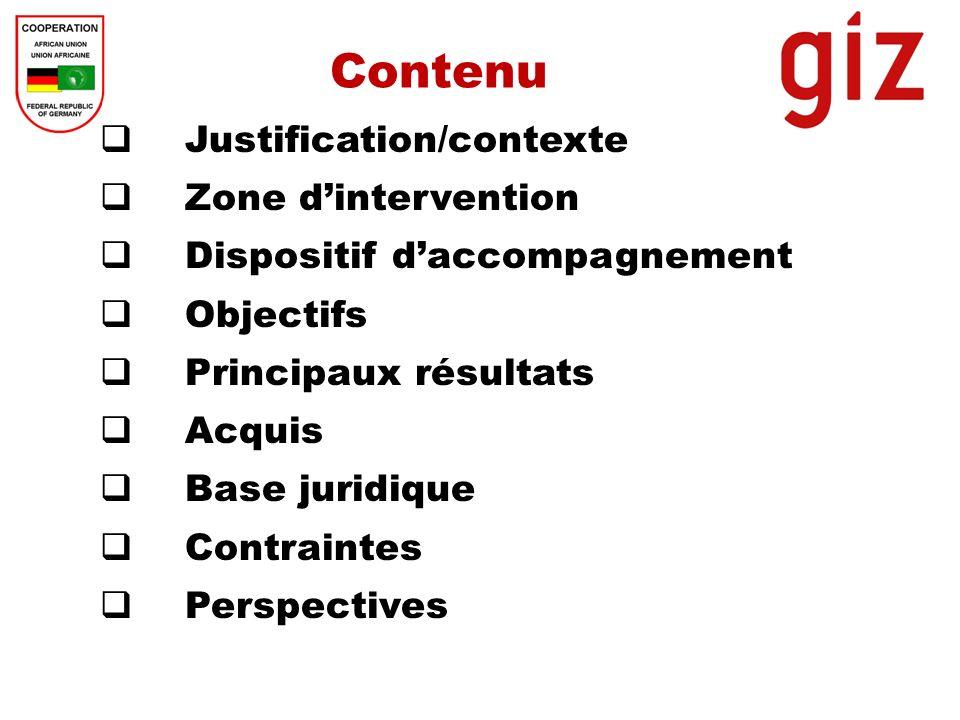 Contenu Justification/contexte Zone d'intervention