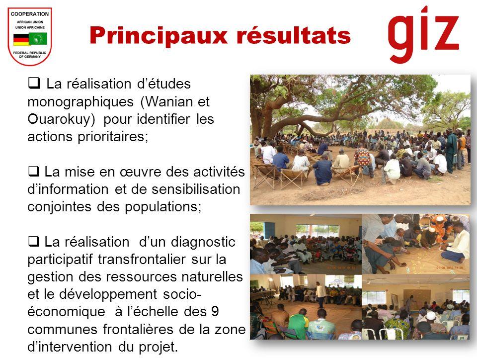 Principaux résultats La réalisation d'études monographiques (Wanian et Ouarokuy) pour identifier les actions prioritaires;