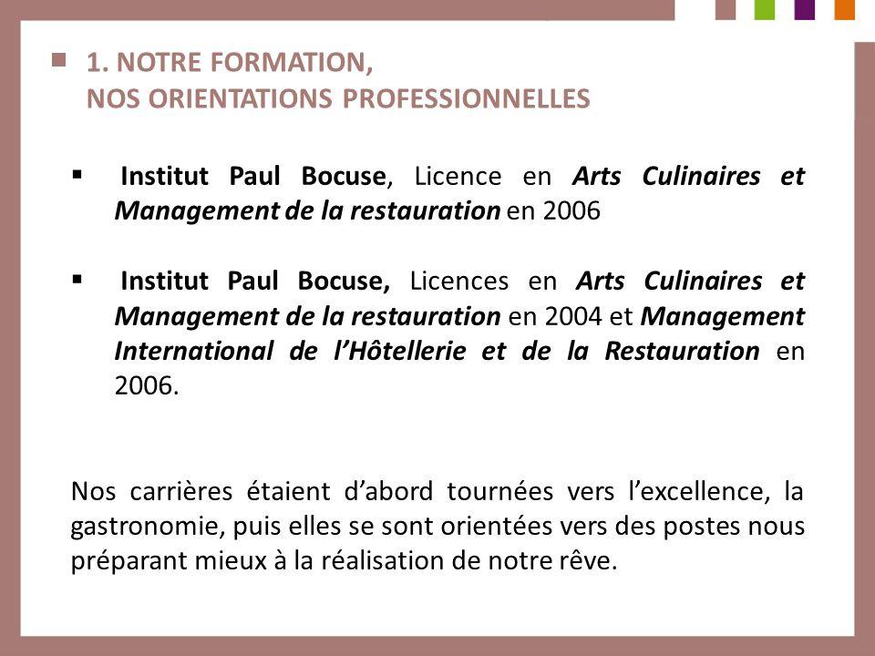 1. NOTRE FORMATION, NOS ORIENTATIONS PROFESSIONNELLES