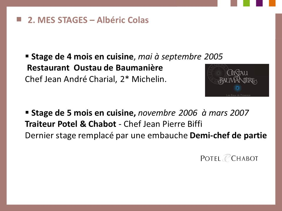 2. MES STAGES – Albéric Colas