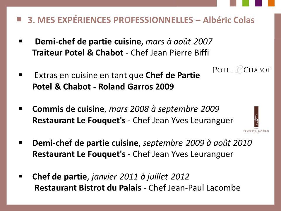 3. MES EXPÉRIENCES PROFESSIONNELLES – Albéric Colas