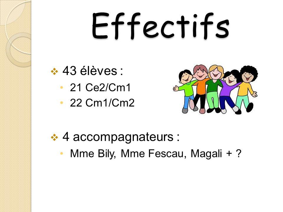 Effectifs 43 élèves : 4 accompagnateurs : 21 Ce2/Cm1 22 Cm1/Cm2