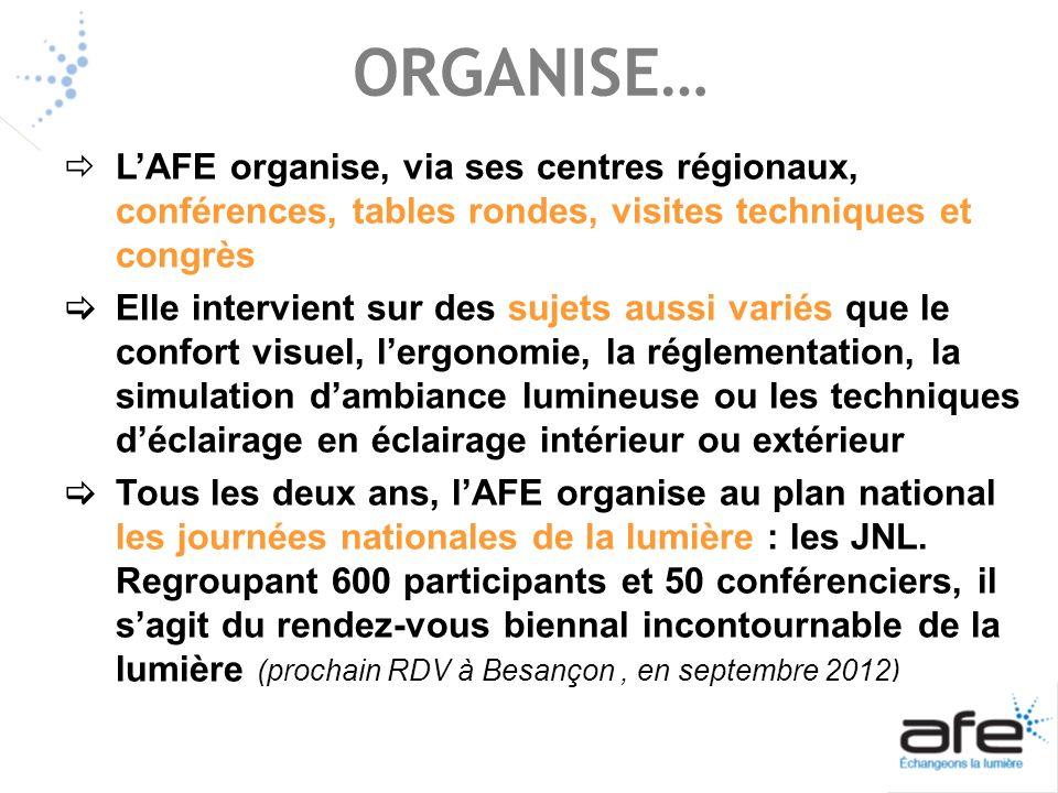 ORGANISE… L'AFE organise, via ses centres régionaux, conférences, tables rondes, visites techniques et congrès.