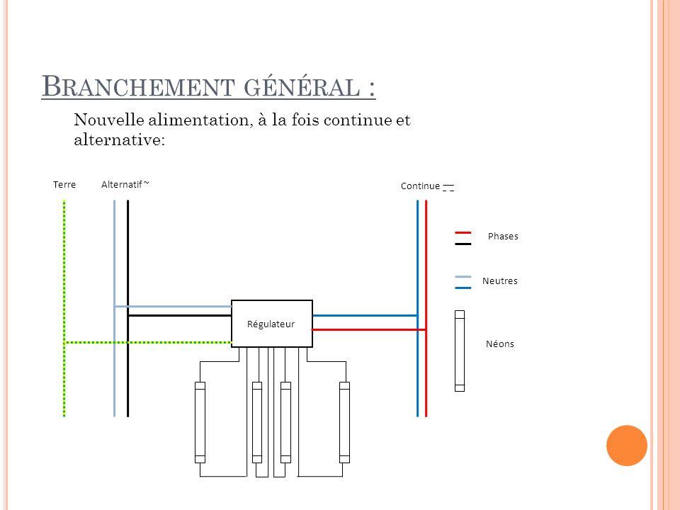 Branchement général : Nouvelle alimentation, à la fois continue et alternative: Régulateur. Phases.