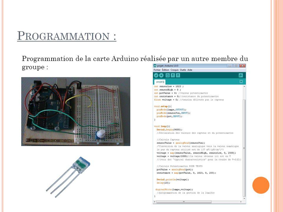 Programmation : Programmation de la carte Arduino réalisée par un autre membre du groupe :