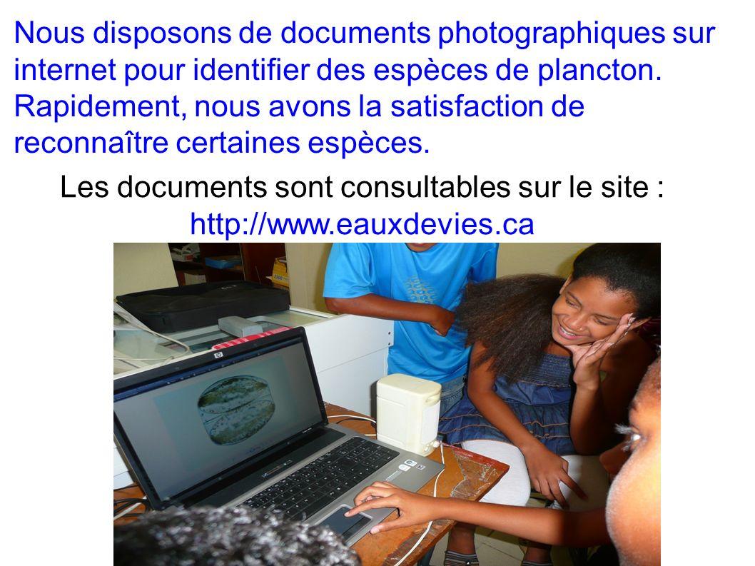 Les documents sont consultables sur le site : http://www.eauxdevies.ca