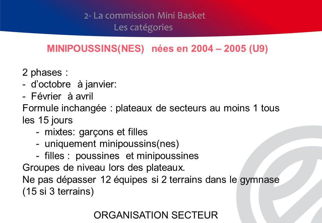 MINIPOUSSINS(NES) nées en 2004 – 2005 (U9)