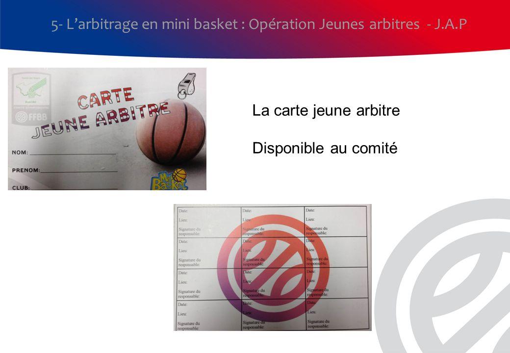 5- L'arbitrage en mini basket : Opération Jeunes arbitres - J.A.P