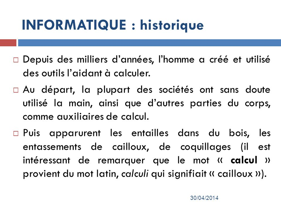 INFORMATIQUE : historique