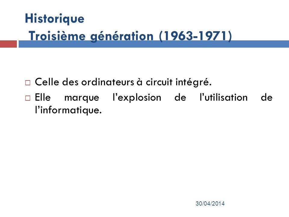 Historique Troisième génération (1963-1971)
