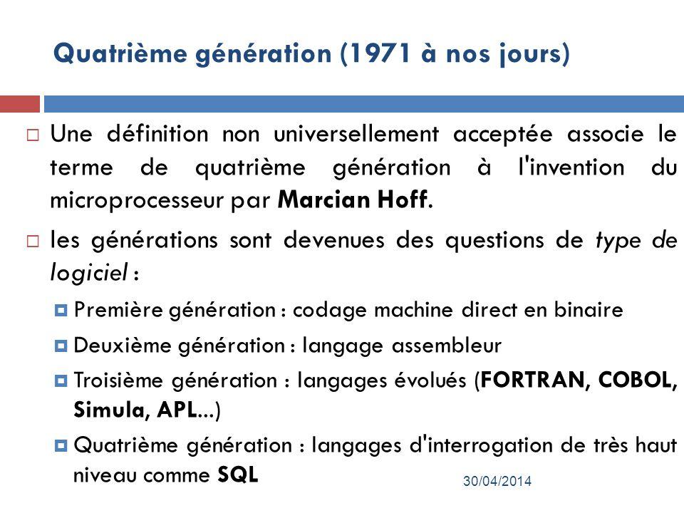 Quatrième génération (1971 à nos jours)
